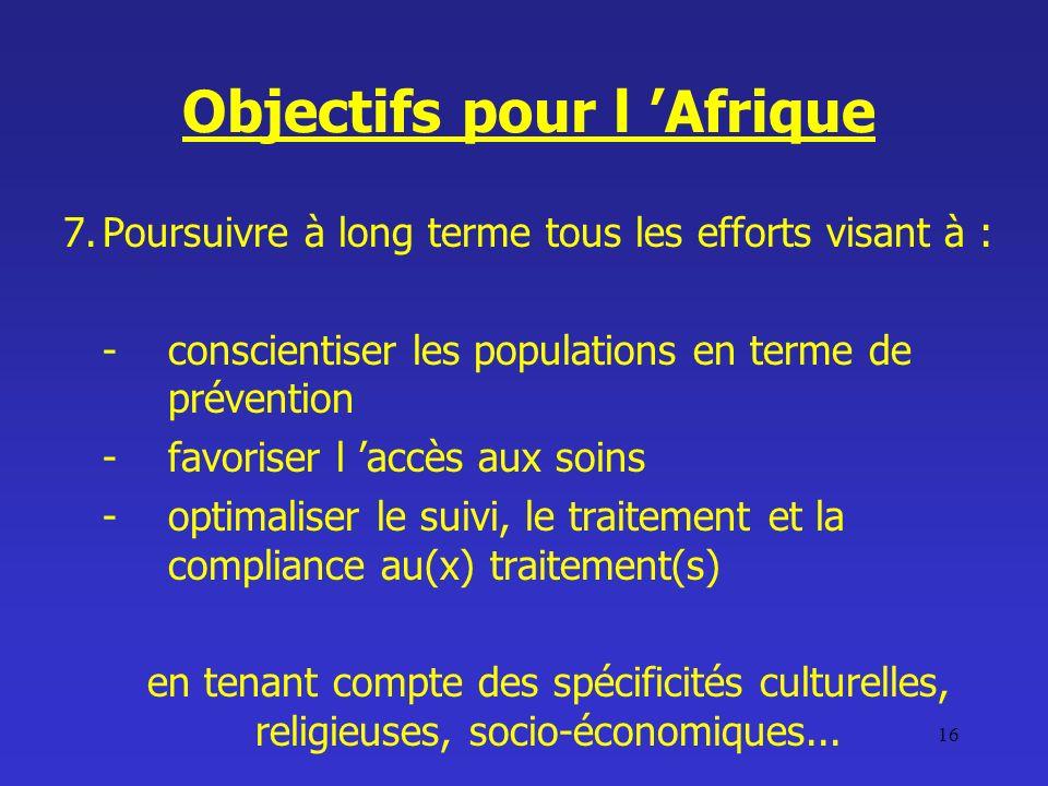 Objectifs pour l 'Afrique