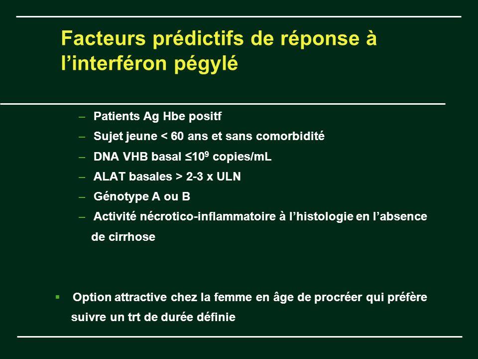 Facteurs prédictifs de réponse à l'interféron pégylé