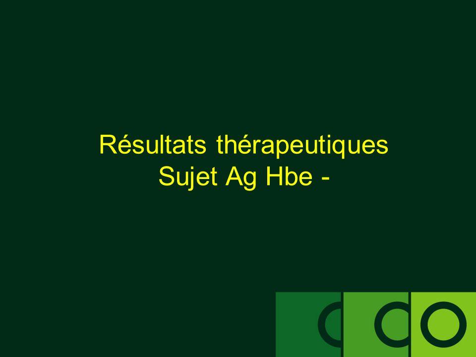 Résultats thérapeutiques Sujet Ag Hbe -