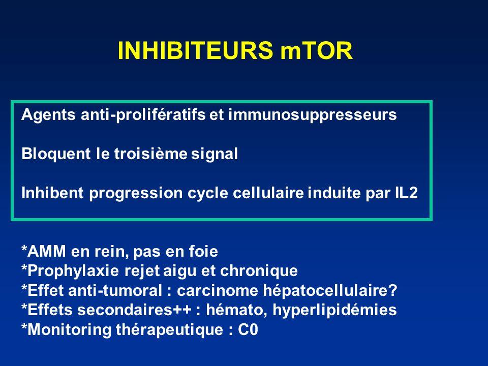 INHIBITEURS mTOR Agents anti-prolifératifs et immunosuppresseurs