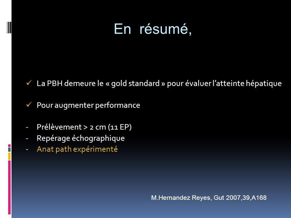 En résumé, La PBH demeure le « gold standard » pour évaluer l'atteinte hépatique. Pour augmenter performance.