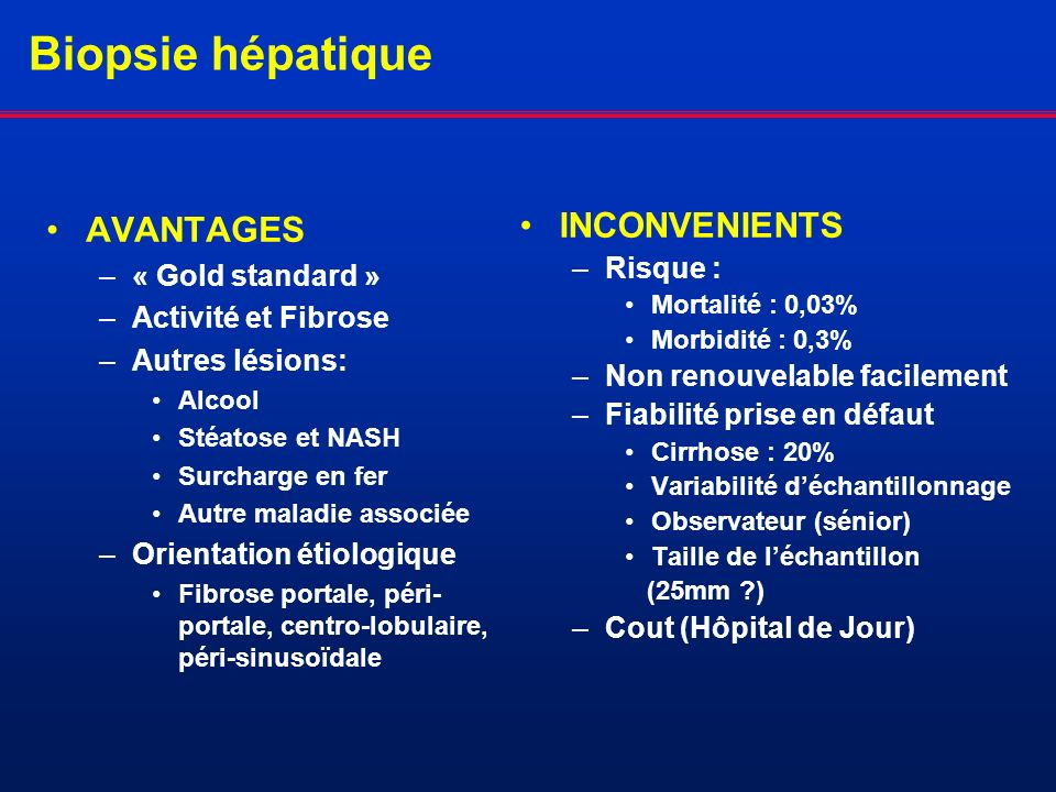 Biopsie hépatique AVANTAGES INCONVENIENTS « Gold standard » Risque :