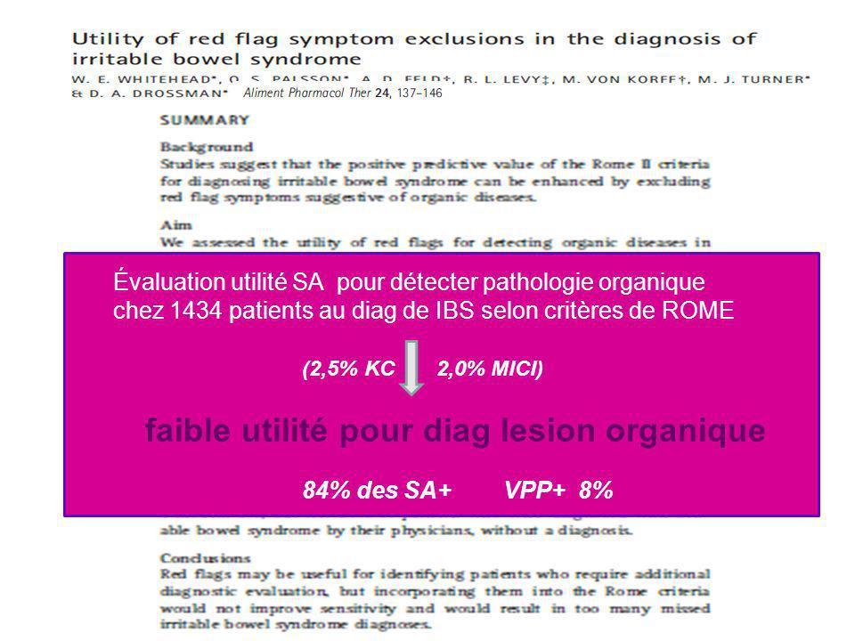 Évaluation utilité SA pour détecter pathologie organique