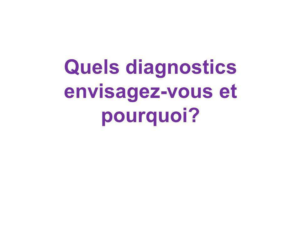 Quels diagnostics envisagez-vous et pourquoi