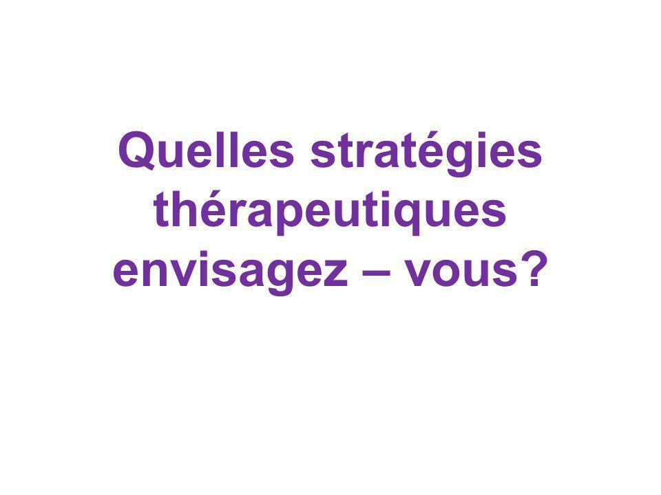 Quelles stratégies thérapeutiques envisagez – vous
