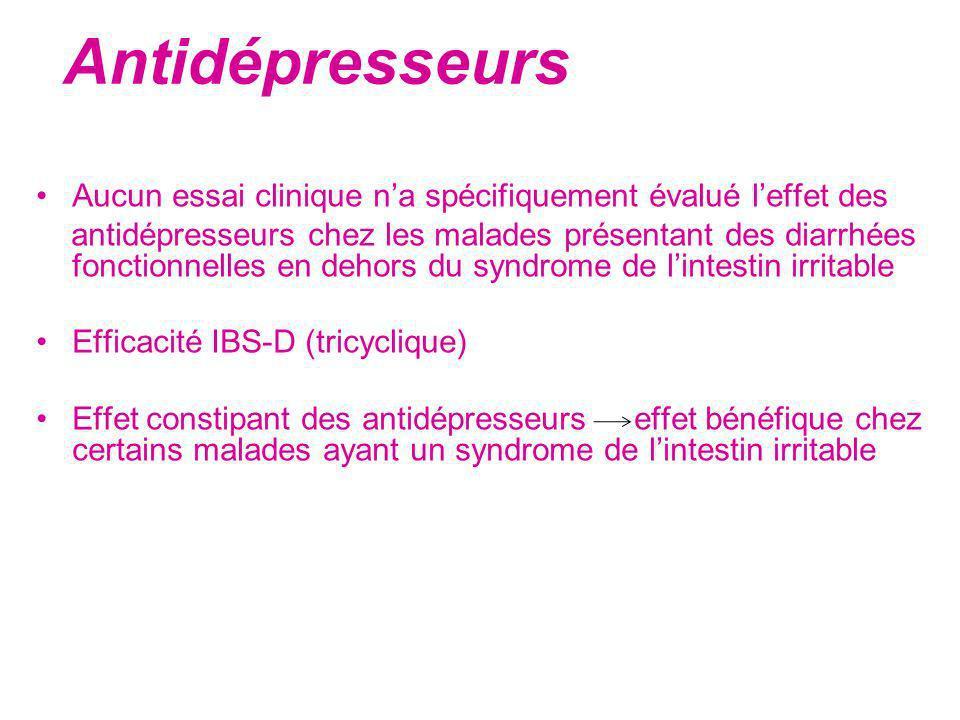 Antidépresseurs Aucun essai clinique n'a spécifiquement évalué l'effet des.