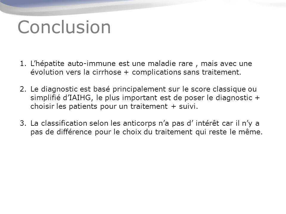 Conclusion L'hépatite auto-immune est une maladie rare , mais avec une évolution vers la cirrhose + complications sans traitement.