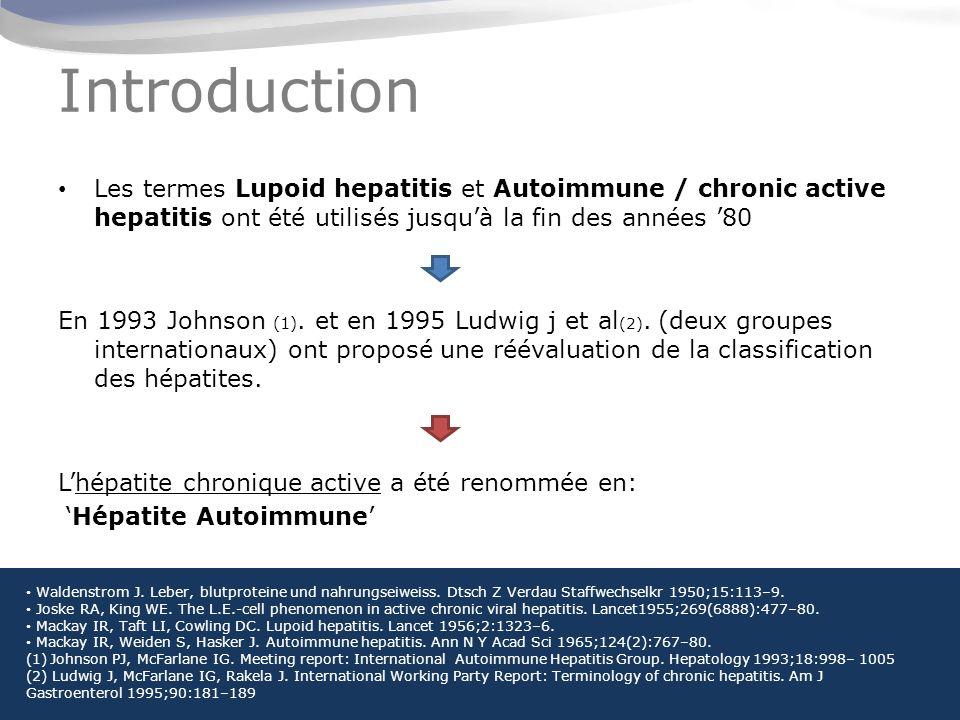 Introduction Les termes Lupoid hepatitis et Autoimmune / chronic active hepatitis ont été utilisés jusqu'à la fin des années '80.