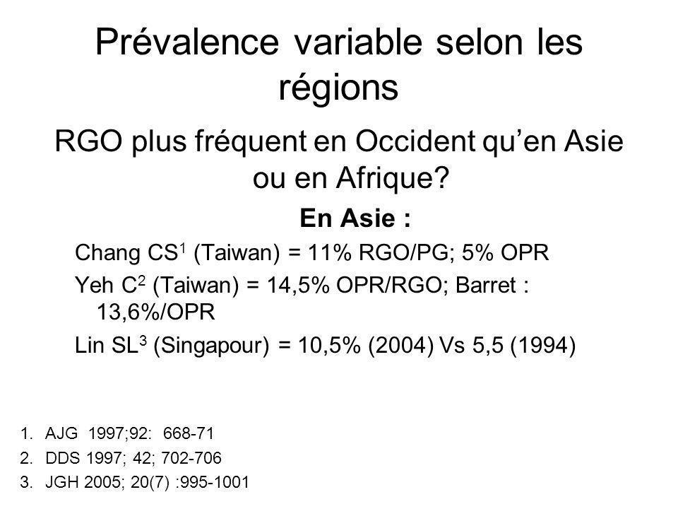 Prévalence variable selon les régions