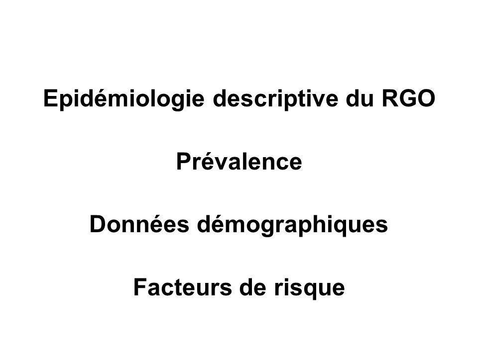 Epidémiologie descriptive du RGO Données démographiques