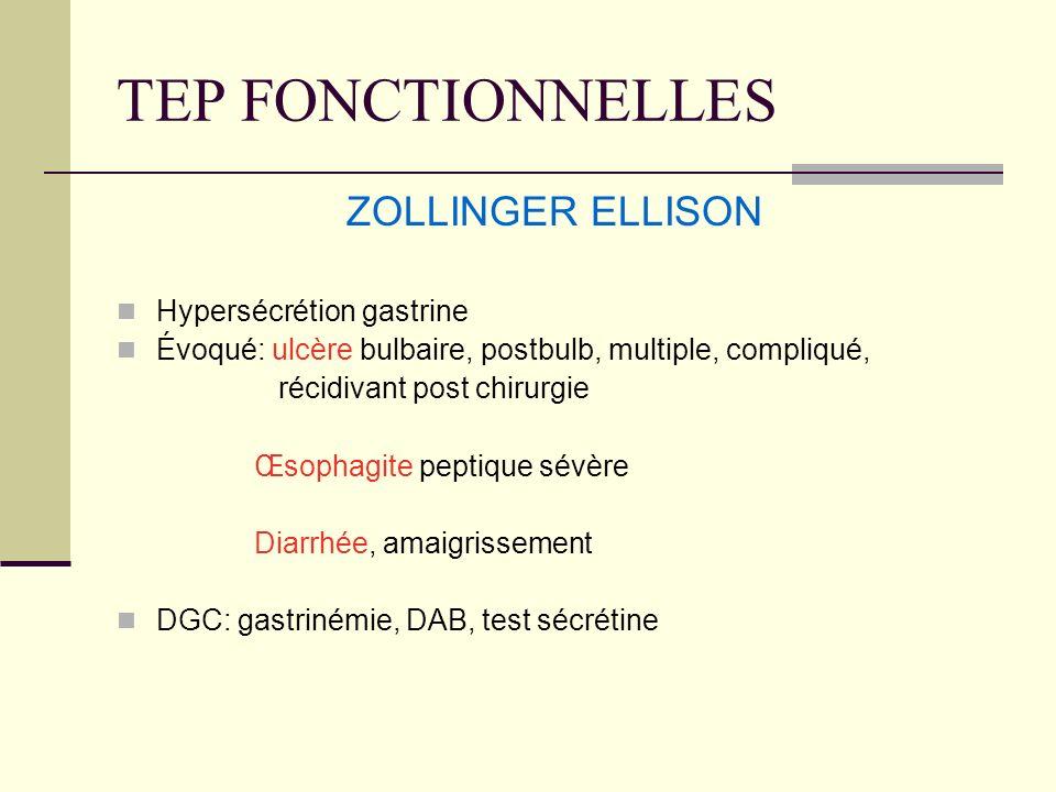 TEP FONCTIONNELLES ZOLLINGER ELLISON Hypersécrétion gastrine