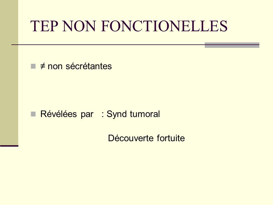 TEP NON FONCTIONELLES ≠ non sécrétantes Révélées par : Synd tumoral