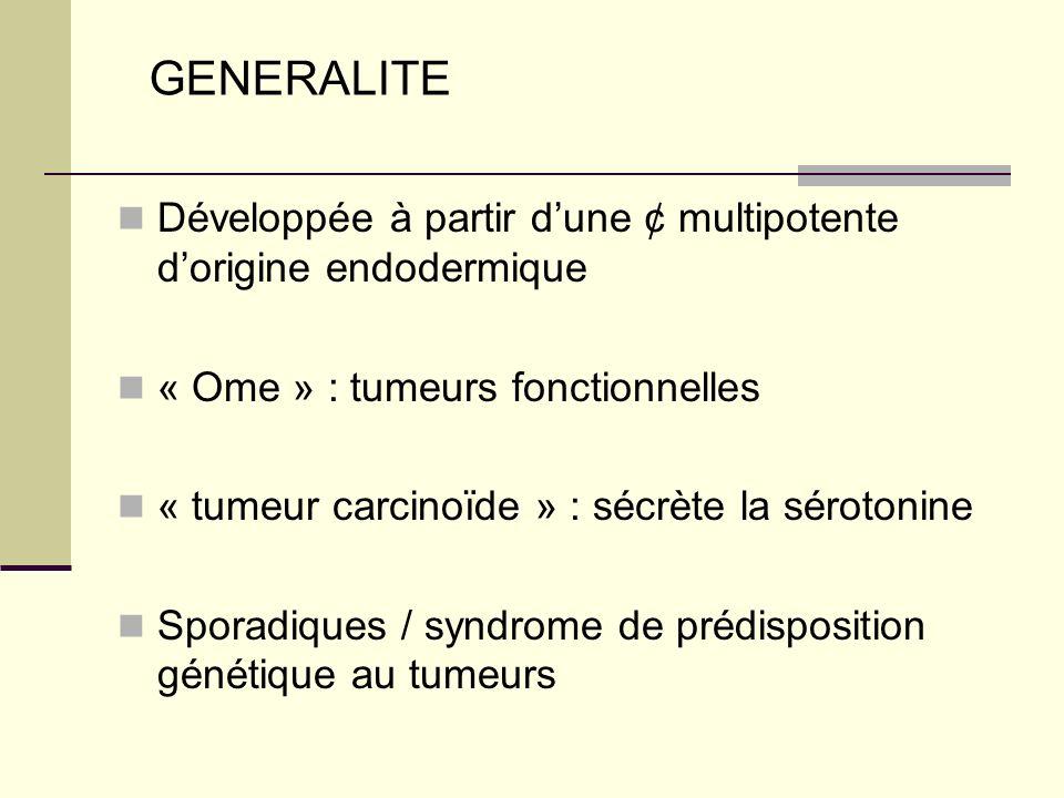GENERALITE Développée à partir d'une ¢ multipotente d'origine endodermique. « Ome » : tumeurs fonctionnelles.