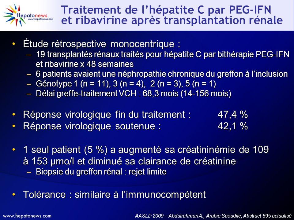 Traitement de l'hépatite C par PEG-IFN et ribavirine après transplantation rénale