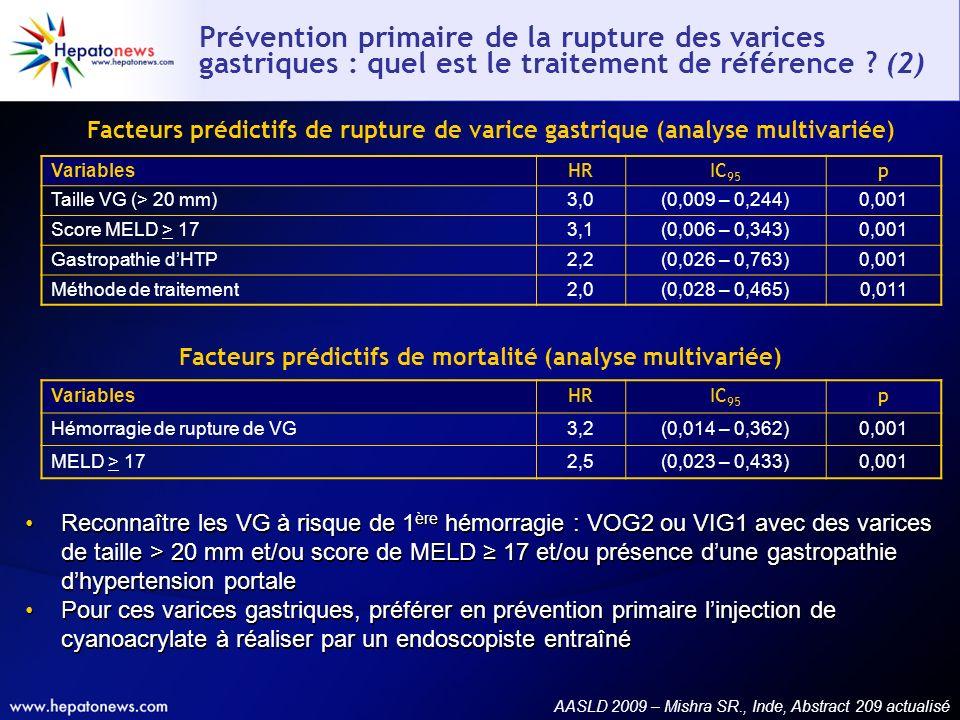 Facteurs prédictifs de mortalité (analyse multivariée)