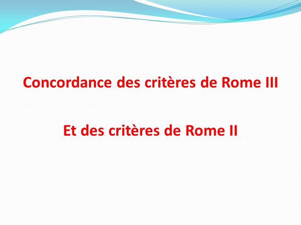 Concordance des critères de Rome III Et des critères de Rome II