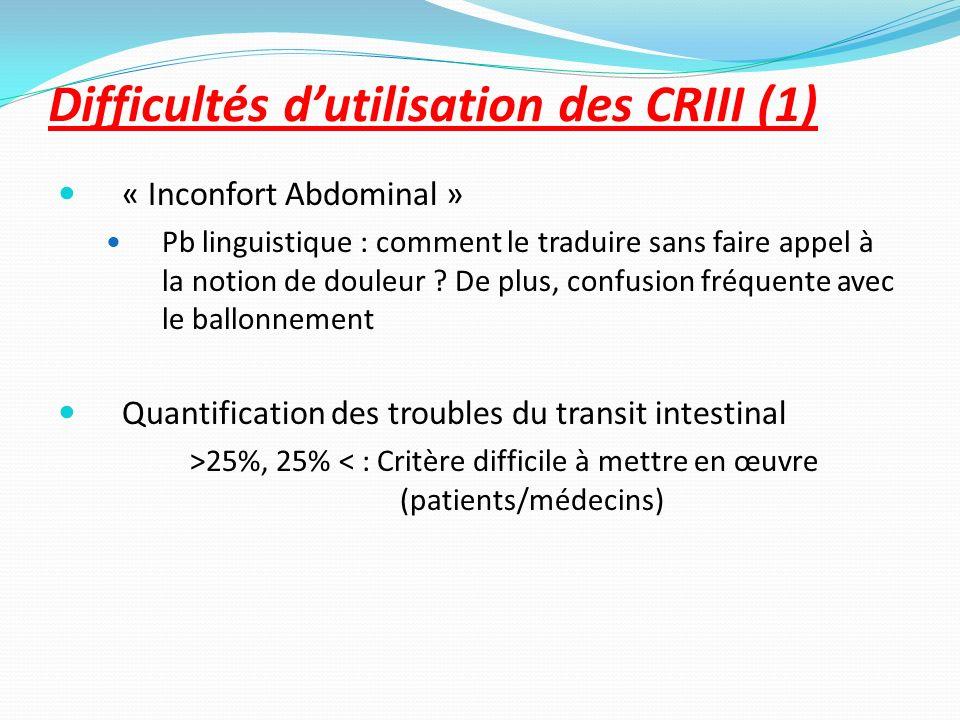 Difficultés d'utilisation des CRIII (1)