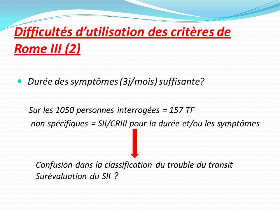 Difficultés d'utilisation des critères de Rome III (2)