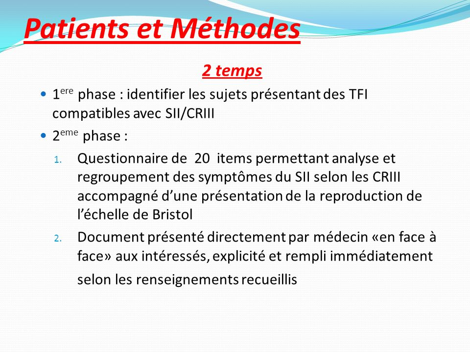 Patients et Méthodes 2 temps