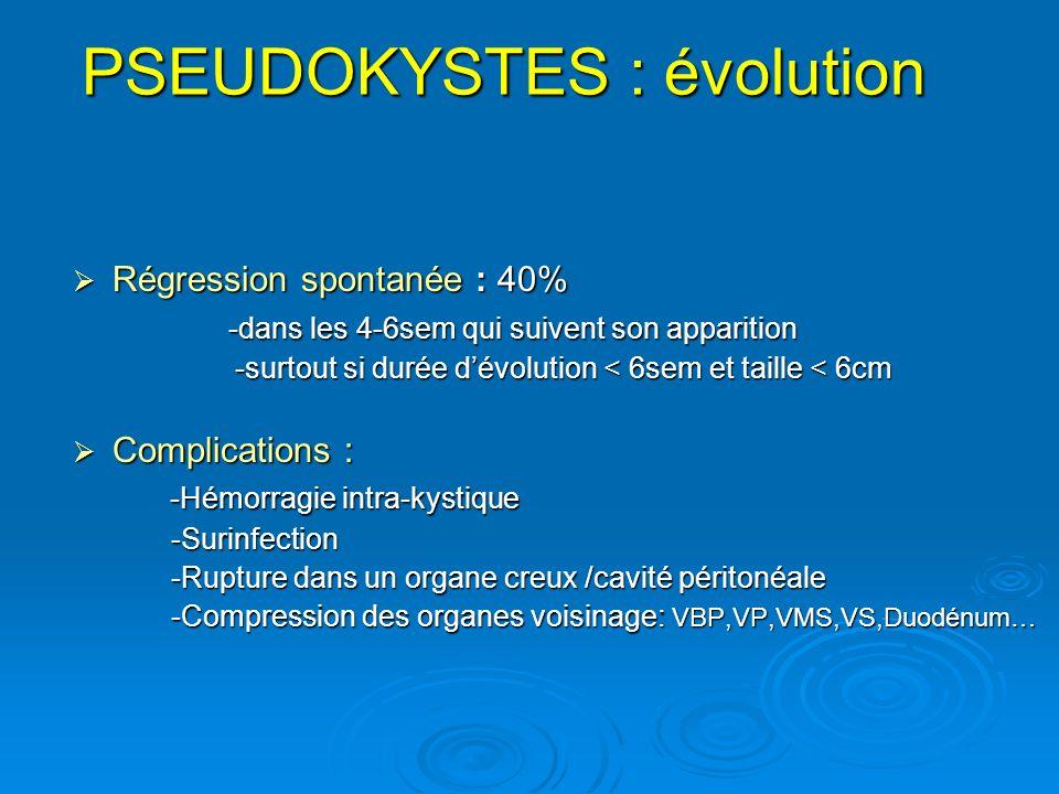 PSEUDOKYSTES : évolution