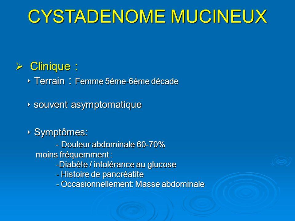 CYSTADENOME MUCINEUX Clinique :  Terrain : Femme 5éme-6éme décade