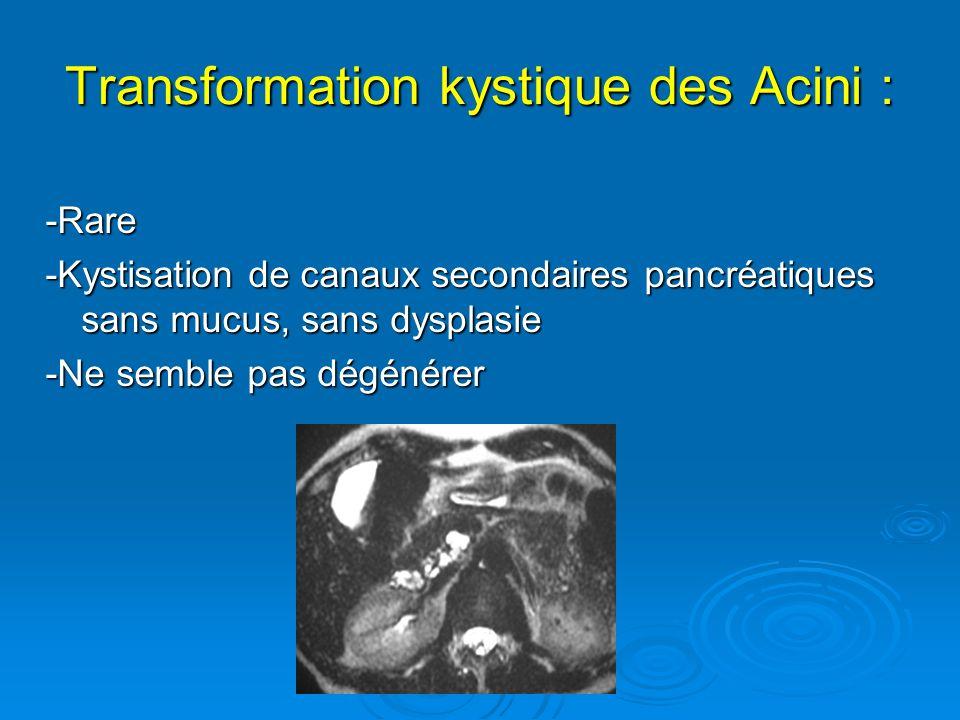 Transformation kystique des Acini :