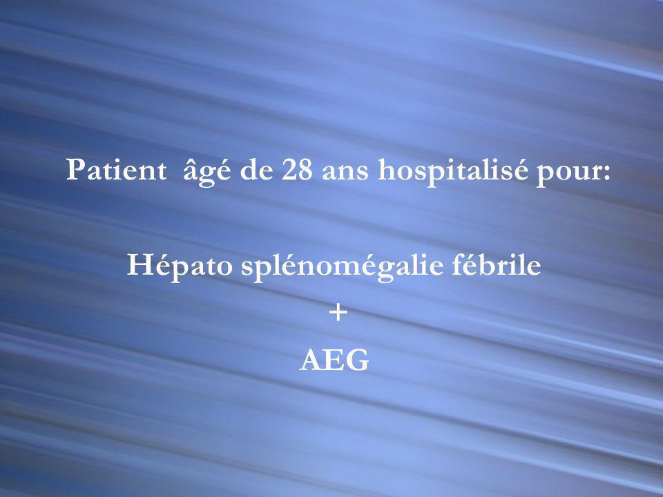 Patient âgé de 28 ans hospitalisé pour: Hépato splénomégalie fébrile