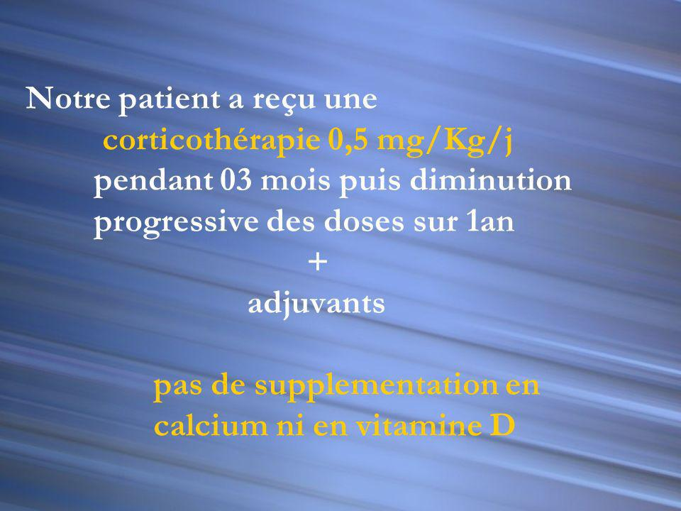 Notre patient a reçu une corticothérapie 0,5 mg/Kg/j