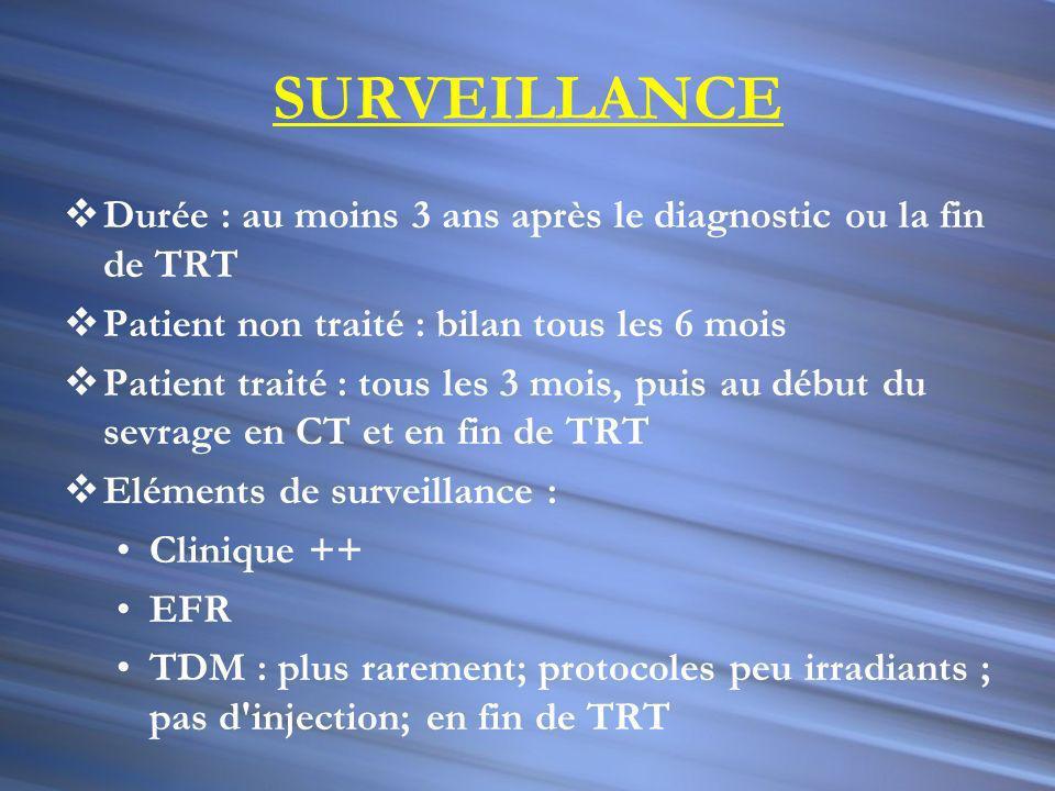 SURVEILLANCE Durée : au moins 3 ans après le diagnostic ou la fin de TRT. Patient non traité : bilan tous les 6 mois.