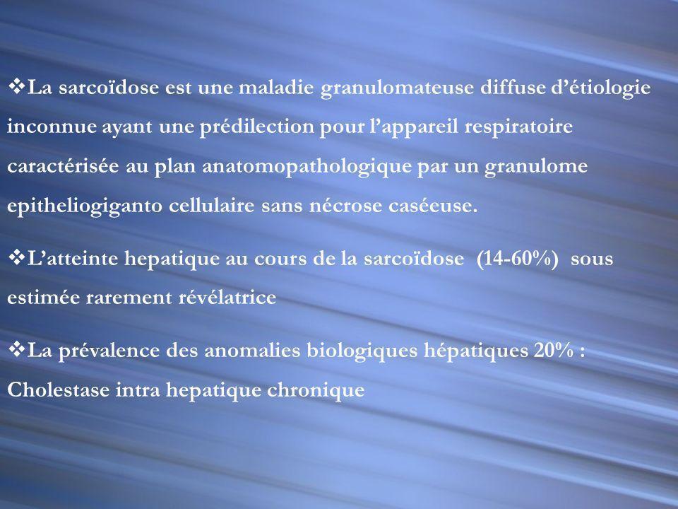 La sarcoïdose est une maladie granulomateuse diffuse d'étiologie inconnue ayant une prédilection pour l'appareil respiratoire caractérisée au plan anatomopathologique par un granulome epitheliogiganto cellulaire sans nécrose caséeuse.