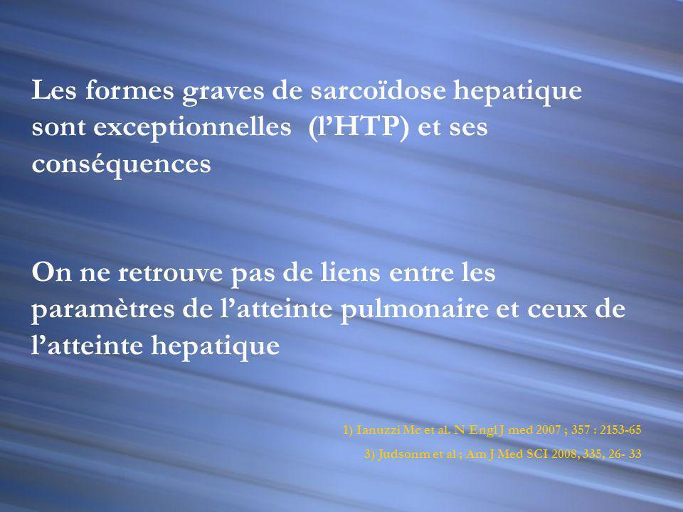 Les formes graves de sarcoïdose hepatique sont exceptionnelles (l'HTP) et ses conséquences
