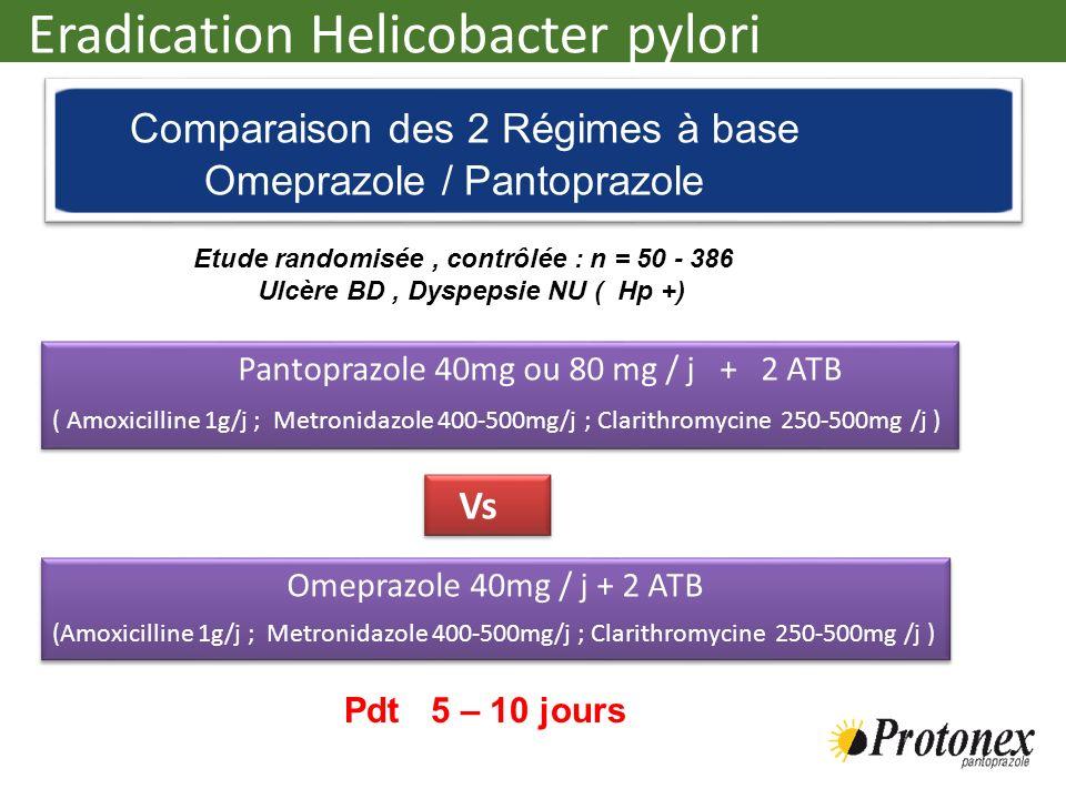 Pantoprazole 40mg ou 80 mg / j + 2 ATB