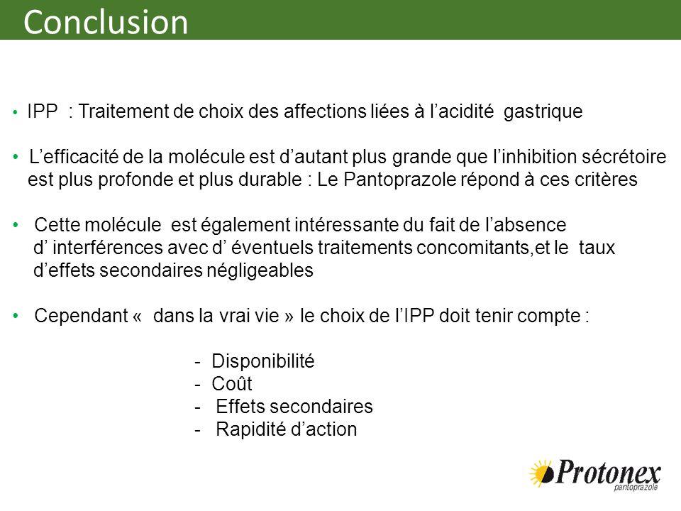Conclusion IPP : Traitement de choix des affections liées à l'acidité gastrique.