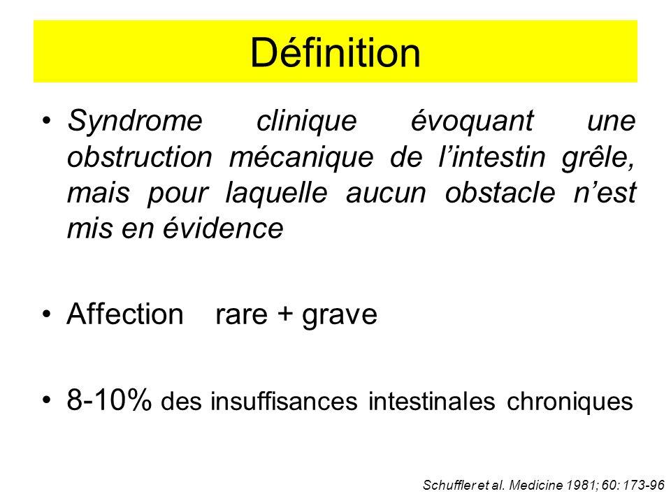 Définition Syndrome clinique évoquant une obstruction mécanique de l'intestin grêle, mais pour laquelle aucun obstacle n'est mis en évidence.