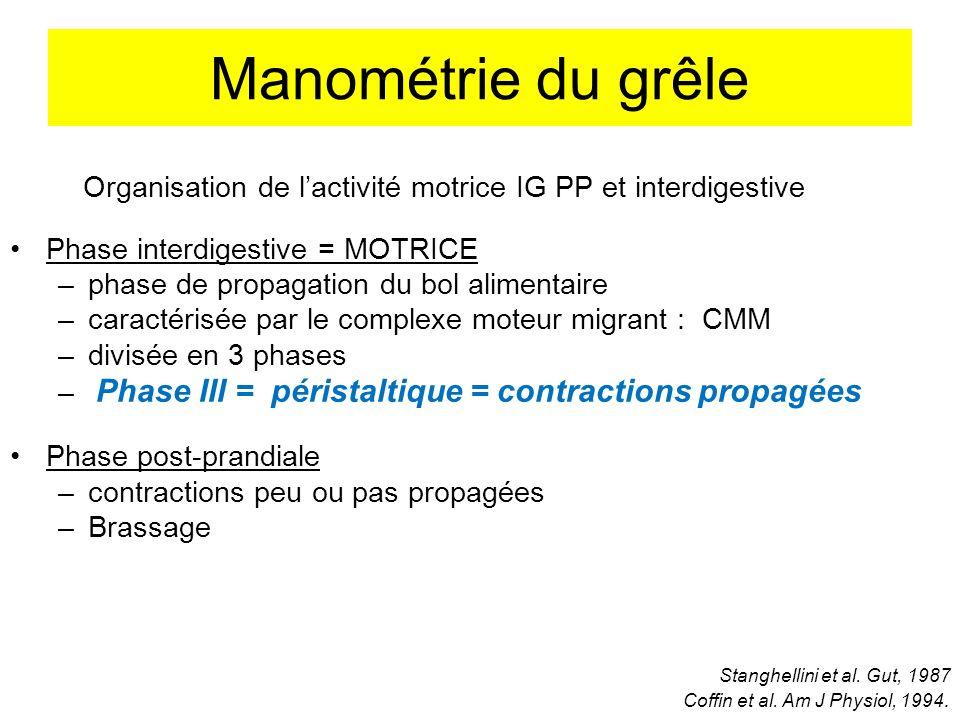 Manométrie du grêle Organisation de l'activité motrice IG PP et interdigestive. Phase interdigestive = MOTRICE.