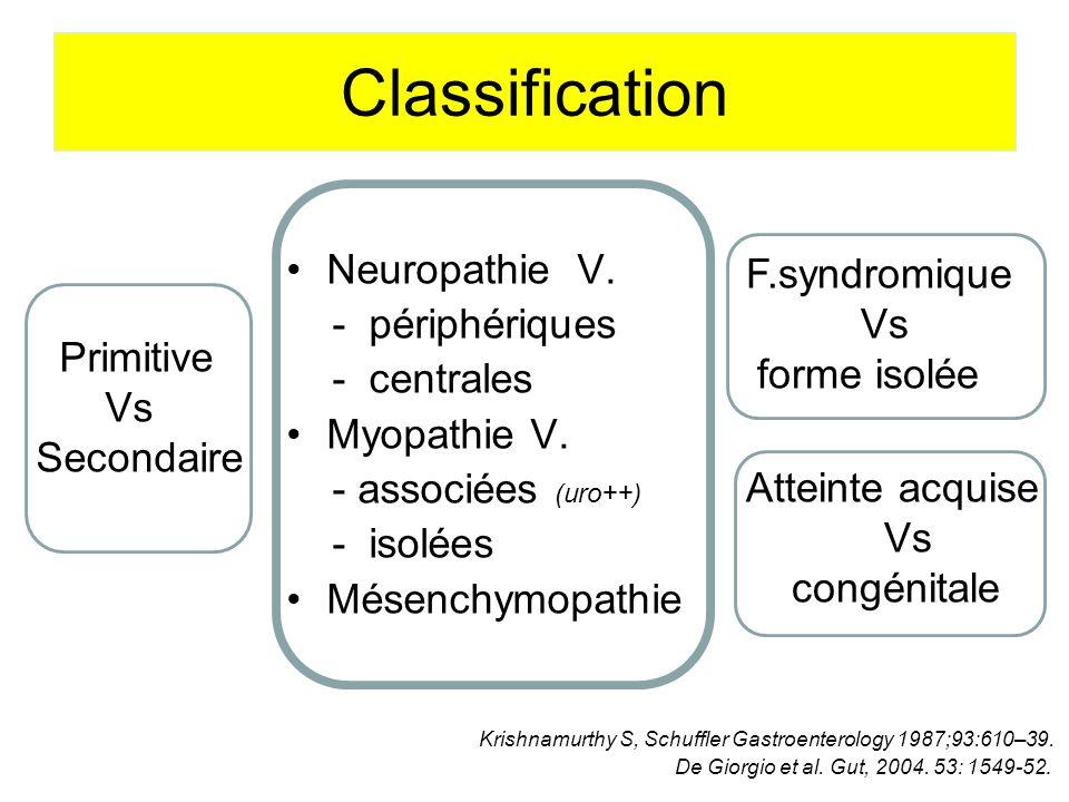 Classification Neuropathie V. - périphériques - centrales Myopathie V.