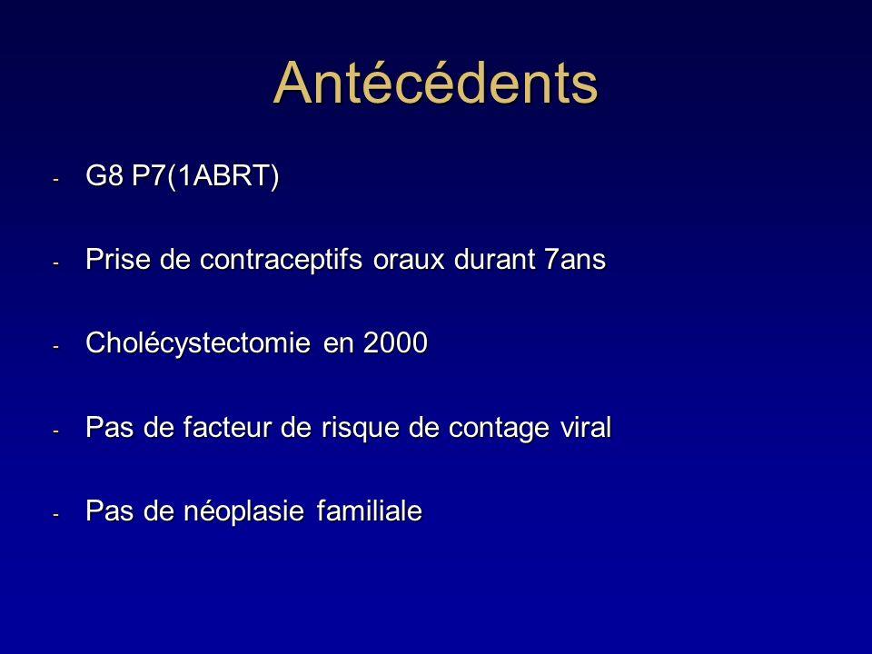 Antécédents G8 P7(1ABRT) Prise de contraceptifs oraux durant 7ans