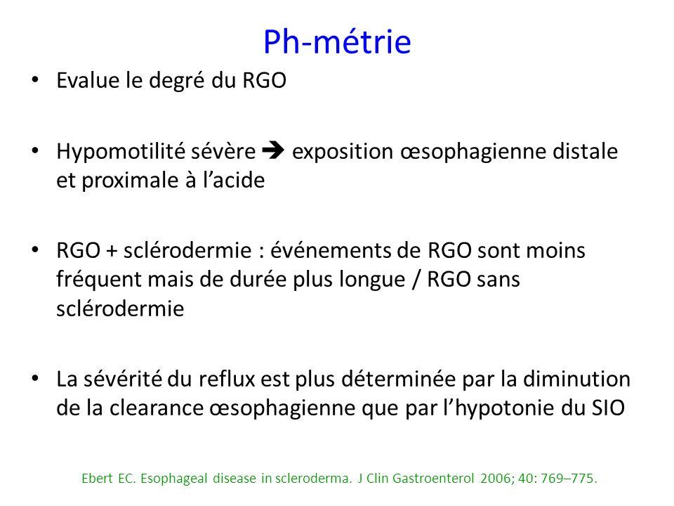 Ph-métrie Evalue le degré du RGO