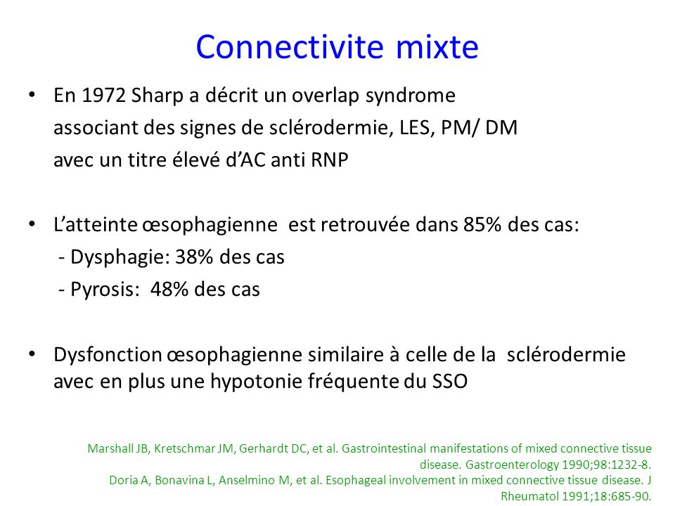 Connectivite mixte En 1972 Sharp a décrit un overlap syndrome