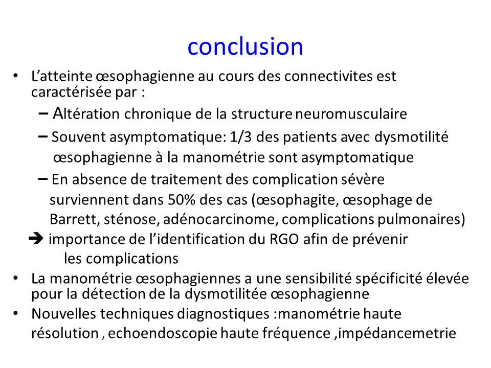 conclusion – Altération chronique de la structure neuromusculaire