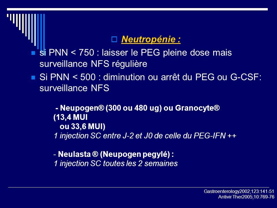 Neutropénie : si PNN < 750 : laisser le PEG pleine dose mais surveillance NFS régulière.