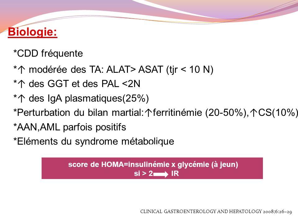 score de HOMA=insulinémie x glycémie (à jeun)