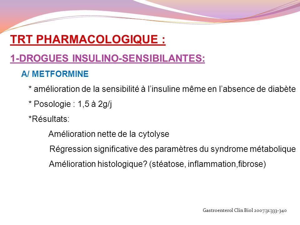 TRT PHARMACOLOGIQUE : 1-DROGUES INSULINO-SENSIBILANTES: A/ METFORMINE
