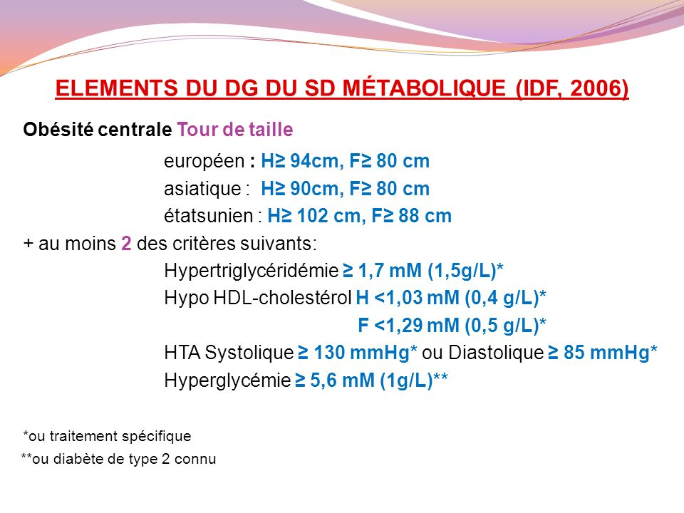 ELEMENTS DU DG DU SD MÉTABOLIQUE (IDF, 2006)