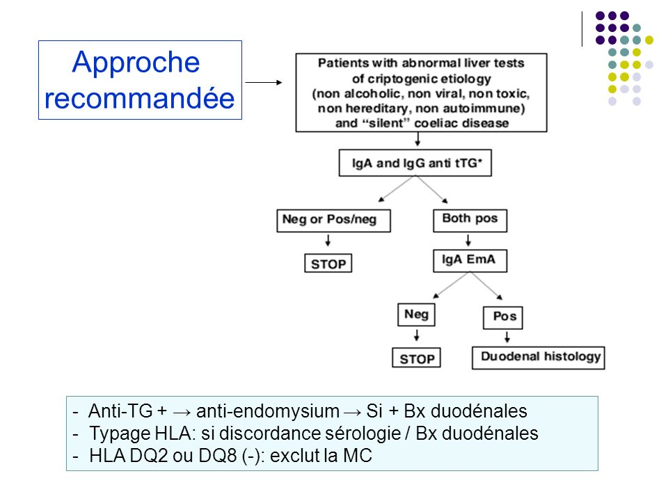 Approche recommandée. - Anti-TG + → anti-endomysium → Si + Bx duodénales. Typage HLA: si discordance sérologie / Bx duodénales.