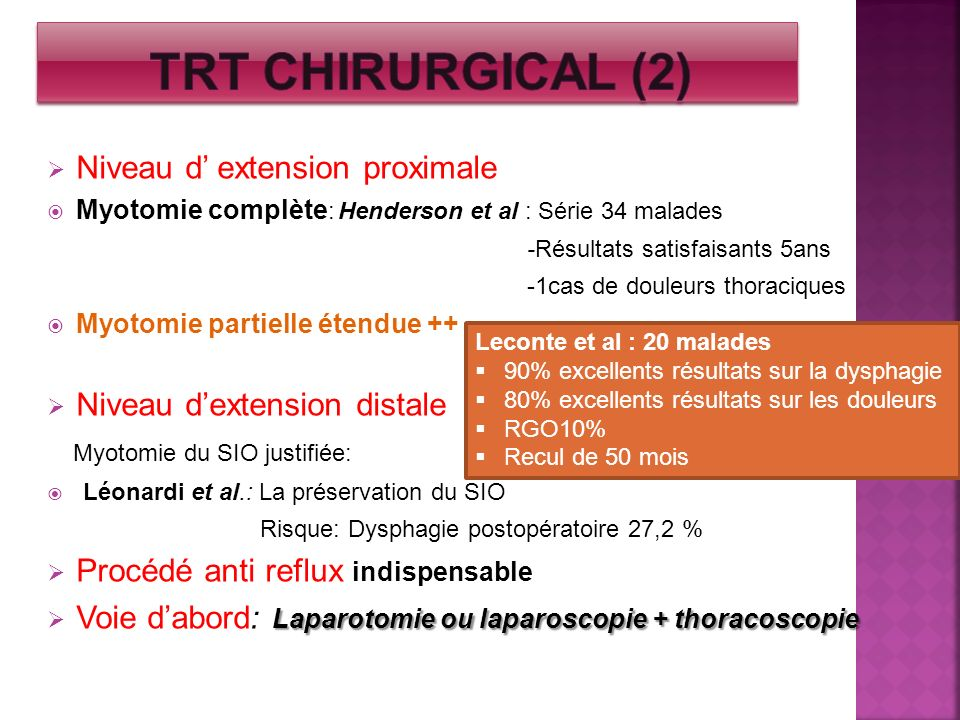 TRT chirurgical (2) Niveau d' extension proximale