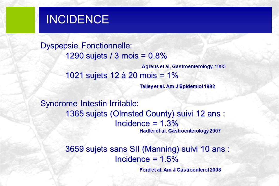 INCIDENCE Dyspepsie Fonctionnelle: 1290 sujets / 3 mois = 0.8%