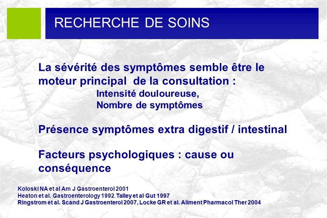 RECHERCHE DE SOINS La sévérité des symptômes semble être le moteur principal de la consultation : Intensité douloureuse,