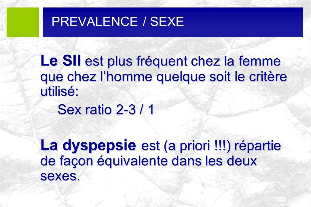 PREVALENCE / SEXE Le SII est plus fréquent chez la femme que chez l'homme quelque soit le critère utilisé:
