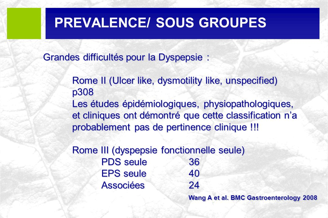PREVALENCE/ SOUS GROUPES
